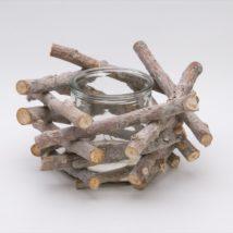 Portacandela legno/vetro cm.15 d.26