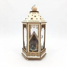 Lanterna legno villaggio Natale con Led e Musica cm. 28,5