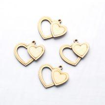 Doppio cuore in legno da app. pz.12